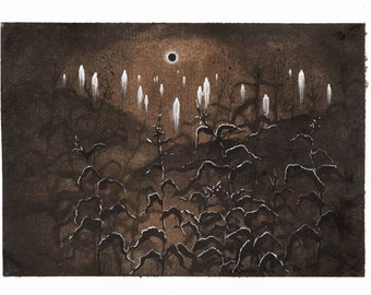 Print Eclipse series: Souls over the Corn Field, Fantasy Art Print Of Original Watercolor Painting, Gothic, Dark, Misterious, Forest, ghosts