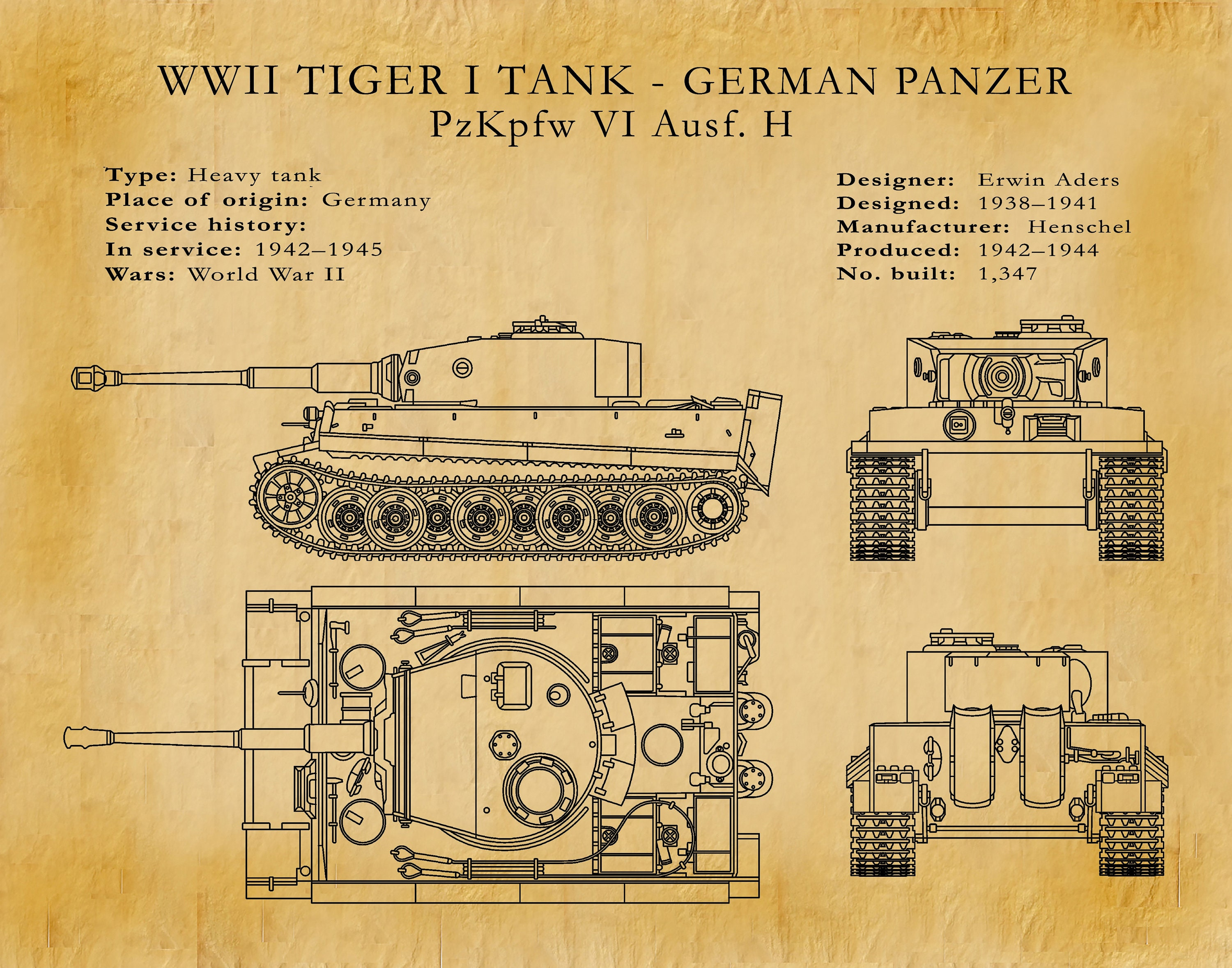 1942 Panzer Tiger I Tank Designed for the German Army WWI Military ...
