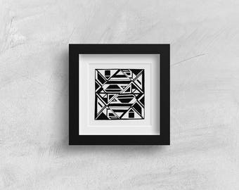 "Hand Drawn Original Geometric Art, Unique Op Art, One of a Kind, Hand Drawn, Modern Tribal Art - ""Gold Bars"""