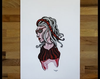 Original Abstract Pen and Ink Drawing on Paper // The Red Lady // House Warming Gift // Ready to Frame Art