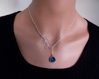 Capri Blue Color Glass  and Branch Necklace, Capri Blue Color Glass Necklace, Sterling SIlver,  -  Cute, Dainty, mother, mom, teen