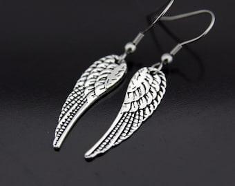 Angel Wing Earrings, Angel Wing Charm Dangle Earrings, Silver Wing Earrings, Wing Charm, Wing Pendant, Angel Wing Jewelry, Silver Earrings