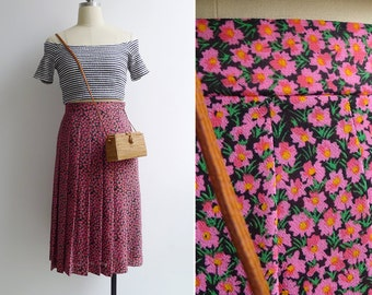 Vintage 80's Pink Floral A-Line Pleated Skirt XS