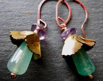 Aventurine & Amethyst Belle Fleur Earrings - Vintage brass - Etsy Accessories - Jewelry - Flower - catROCKS - Purple Green - Copper - Floral