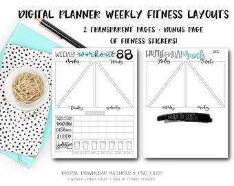 Digital Planner Pages - Weekly Fitness Layout (BONUS! 24 Fitness Stickers)