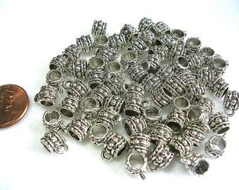 Antiqued Silver European Necklace Bail  25 Pieces Dangle Bracelet Bail  Bead Bail