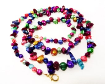Necklace - Colorful Jewel Tone Pearl Necklace Lanyard - Pearl Necklace