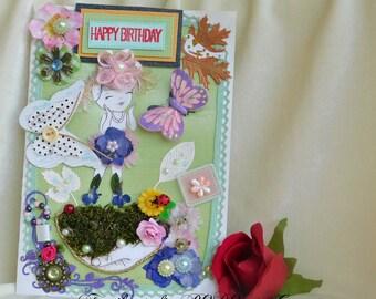 Birthday gift girls. Flower girl cards. Card for kids. Kids room decor. Little girl birthday. Cute birthday kids. Card for daughter.