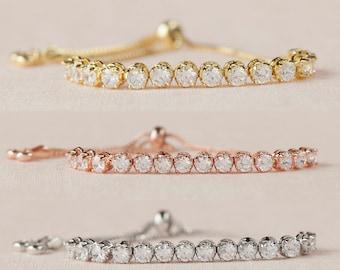 Rose Gold Bracelet, Rose Gold Wedding Jewelry, Bridesmaid Bracelet, Swarovski, Dylan Bridal Bracelet