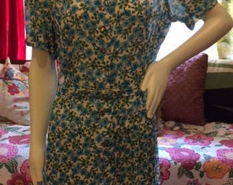 1960's blue and white floral dress