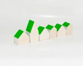Miniature wooden houses. Set of 6 pieces. The small village for home decor. Green light roof