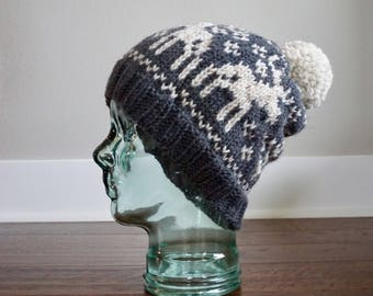 Knit Hat. Fair Isle Knit Hat. Fair Isle Moose. Women's Knit Hat. Winter Hats. Women's Winter Hats. Winter Accessories.