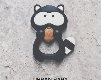 Baby Teething Toy, Silicone Toy Teether, Sensory Toys, Food Grade, Chewelry, Baby Shower, Baby Gift, Raccoon, Black, White, Nuts, Trendy