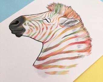 "Colourful Zebra Art Print, 6""x4"", A5, A4 prints. Digital rainbow illustration"