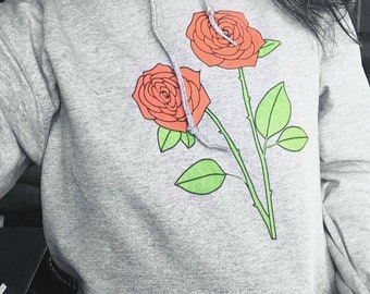 Rose Flower Heather Grey Hoodie Sweatshirt