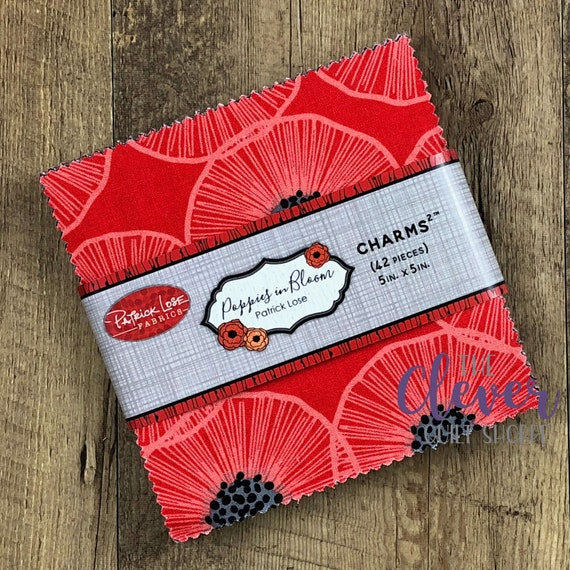 Charm Pack, Squares, Poppies in Bloom, Red, Patrick Lose, Black, White, Poppies, Floral, Flowers, Oriental Poppies, Precut, Quilting Fabric