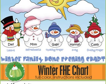 FAMILY HOME EVENING Chart - Winter - Downloadable File