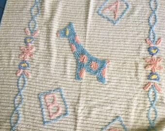 Vintage Baby Blanket Chenille Giraffe ABC Blocks