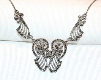 Vintage Sterling Silver Marcasite Necklace (1940's)