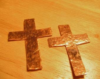Copper Cross Pendants -- Set of 2