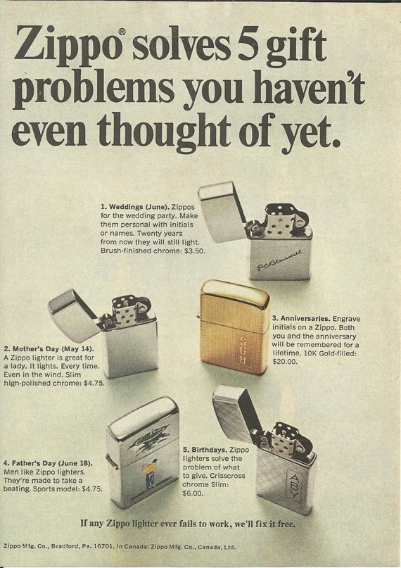 Items similar to Zippo Lighter Original 1963 VINTAGE AD Color Photo  Zippo Solves 5 Gift Problems You Havenu0027t Even Thought of Yet.  on Etsy  sc 1 st  Etsy & Items similar to Zippo Lighter Original 1963 VINTAGE AD Color Photo ...
