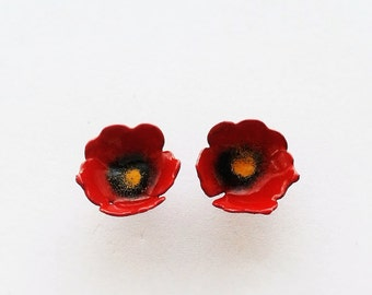 Red poppy earrings, poppy jewelry, red flower earrings, stud poppy earrings, nature earrings, enamel earrings,romantic earrings,gift for her