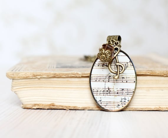 Music notes Necklace - Mozart Music Manuscripts - Sheet music jewelry