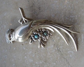sterling silver and turquoise bird brooch