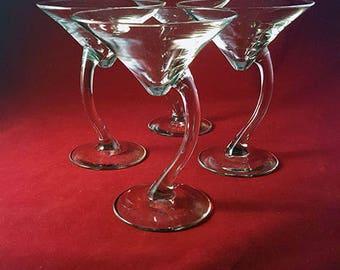 Libbey Curved Stem Martini Glasses