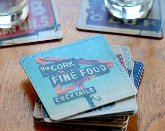 Cocktail Bar Photo Coasters Handmade from Upcycled Cardboard