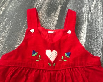 Vintage Health-Tex? Red Corduroy Romper Overalls with Pockets 3 Months?