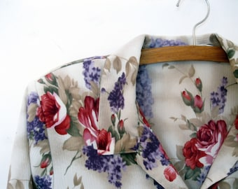 Ladies Blouse Size 16.  Womans Shirt with Roses, Ladies Shirt, Roses, Lilacs, Ladies Clothing, Short Sleeve, by mailordervintage on etsy