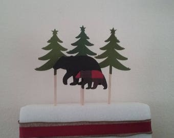 BLACK BEAR TOPPER Set-Lumberjack Cake Topper Set-Red/Black Buffalo Plaid Topper