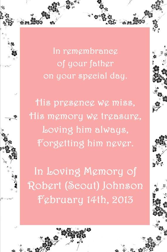 In Loving Memory Cards - Custom Wedding Memorials Poems - DIGITAL FILES - DIY Printable - In Remembrance
