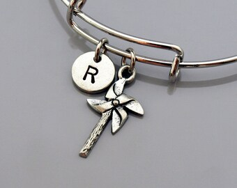 Pinwheel charm bangle, Pinwheel bracelet, Pinwheel jewelry, Pin wheel, Expandable bangle, Personalized bracelet, Monogram, Initial bracelet
