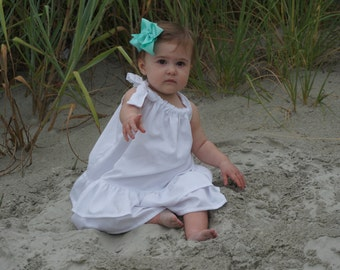 Girl, White Beach Dress, White Cotton Dress, Black, Cream, Red, Blue, Sateen, Sundress, Ruffle, Photo, Birthday Party, Wedding, Toddler Baby