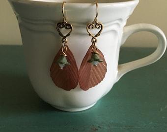 Unique Birch Leaf Bellflower Earrings