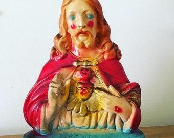30% Off Sale 50s 60s Vintage Sacred Heart Blushing Jesus Chalkware Statue