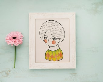 Illustrated postcards, portrait postcard, tiny drawing, watercolor and ink illustration, postcard for framing, watercolor and ink print