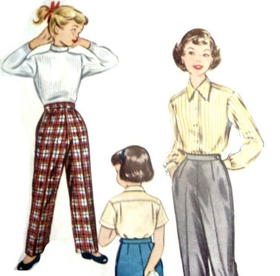 Vintage 50er Jahre Mädchen Hose nähen Schnittmuster Hose mit