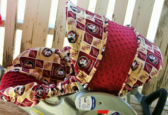 FSU and maroon minky infant car seat cover and hood cover
