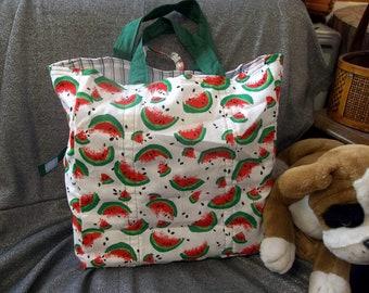 Cotton Shopping Tote Bag, Watermelon Slices White Print