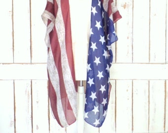 American USA flag print  handmade sheer gauzy kimono cardigan cover up/USA/Fourth of July/United States flag top/one size/Limited Edition