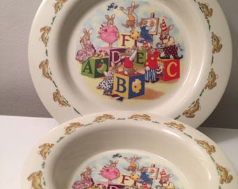 Bunnykins Royal Doulton Stoke on Trent Staffordshire England Plate and Bowl Set