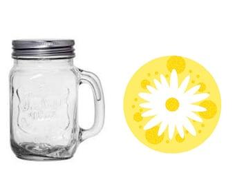 Daisy Mason Jar.  Baby Shower. Bridal Shower. Spring. Summer. 16 oz jar. Party Favor. Flowers. Floral