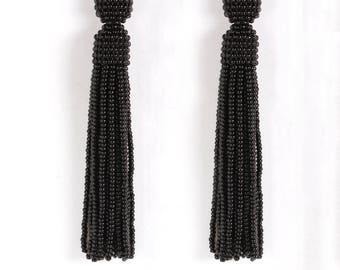 Black beaded tassel earrings,Beaded earrings in Oscar de La Renta style, long tassel beaded earrings, oscar de la renta tassel earrings
