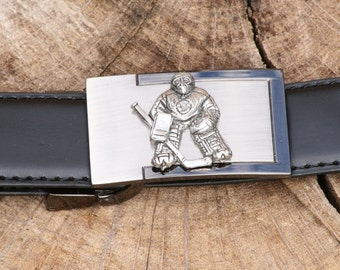 Ice Hockey Goalie Pewter Design Belt and Buckle Set Ideal Ice Hockey Gift Present