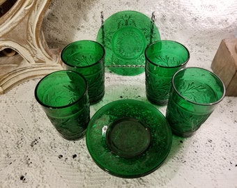 Anchor Hocking green glass tumblers and plates
