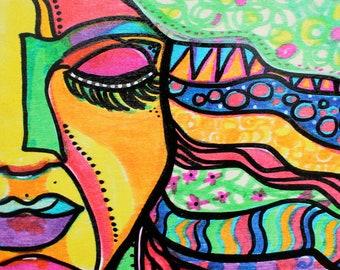 "Pause- 8x8"" Original Colorful Mindful Yoga Acrylic Painting on Wood Panel"