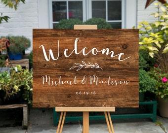 "Welcome Wedding Sign | Printable Welcome Sign | Wedding Signs | Wedding Day Signs  | 18x24"" | No. EDN 5171 Wood"
